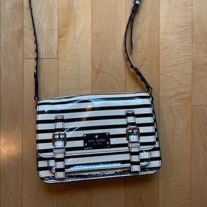 Kate Spade Black and White Stripped Crossbody Bag